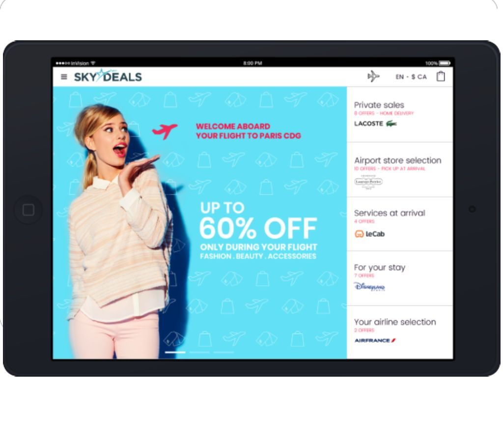 SKYdeals inflight shoppertainment on tablet